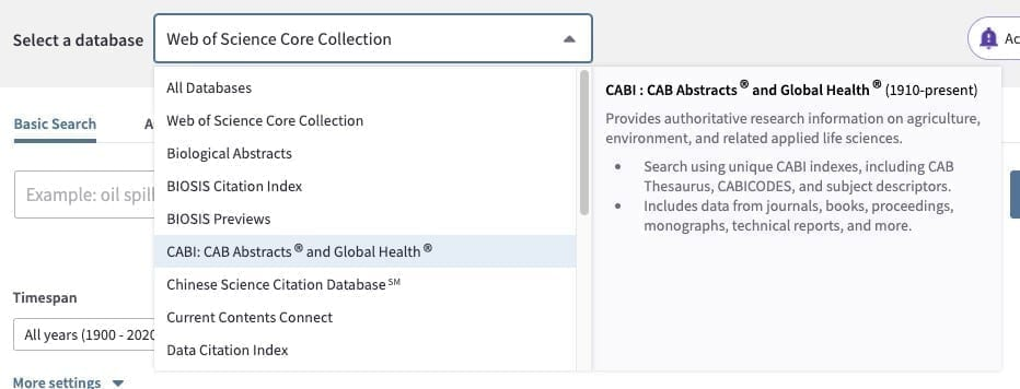 Image: Web of Science database