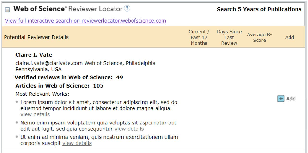 Web of Science Reviewer Locator Example Image