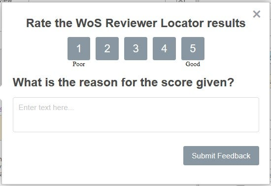 Web of Science Reviewer Locator Results